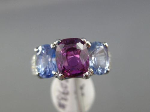 LARGE GIA 5.63CT DIAMOND & AAA PURPLE BLUE SAPPHIRE 18KT WHITE GOLD 3 STONE RING
