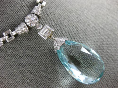 ANTIQUE EXTRA LARGE 41.0CT DIAMOND & AAA AQUAMARINE 18K WHITE GOLD LOVE NECKLACE