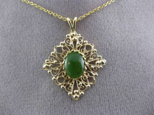 ANTIQUE 14KT YELLOW GOLD FILIGREE AAA JADE FLOATING PENDANT & CHAIN #24375