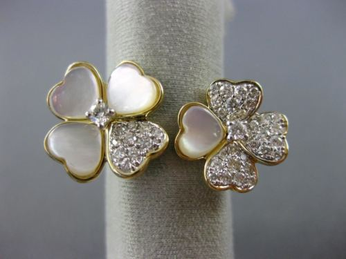 ESTATE WIDE DIAMOND & MOTHER OF PEARL 14K YELLOW GOLD 4 CLOVER HEART FLOWER RING