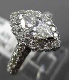 ESTATE 1.32CT DIAMOND 14KT WHITE GOLD 3D HALO PAVE FILIGREE ENGAGEMENT RING 1542