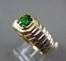 ESTATE .47CT AAA TSAVORITE 14KT WHITE & YELLOW GOLD PYRAMID MENS GYPSY RING