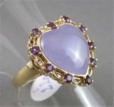 ANTIQUE WIDE 7.60CT AAA AMETHYST & QUARTZ 14KT YELLOW GOLD HEART LOVE FUN RING