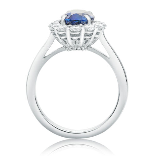 GIA CERTIFIED 3.62CT DIAMOND & AAA SAPPHIRE 14KT WHITE GOLD HALO ENGAGEMENT RING