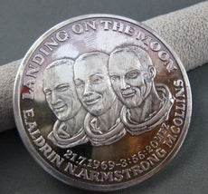LANDING ON THE MOON E.ALDRIN N.ARMSTRONG M.COLLINS SILVER COIN 925 #22195