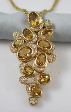 ANTIQUE LARGE 18KT YELLOW GOLD DIAMOND & CITRINE NECKLACE