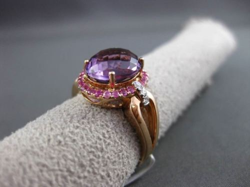 ANTIQUE WIDE 4.14CT DIAMOND & AAA EXTRA FACET MULTI GEMSTONE 14KT ROSE GOLD RING