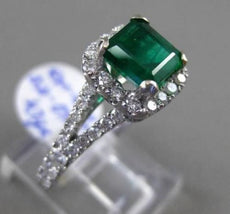 ESTATE 2.66CT DIAMOND & EMERALD 14KT WHITE GOLD 3D SQUARE HALO ENGAGEMENT RING