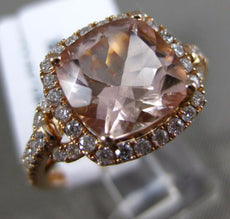 ESTATE WIDE 3.21CT DIAMOND & AAA MORGANITE 14K ROSE GOLD 3D HALO ENGAGEMENT RING