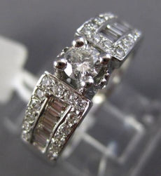 ESTATE .90CT ROUND & BAGUETTE DIAMOND 14KT WHITE GOLD FOUR PRONG ENGAGEMENT RING