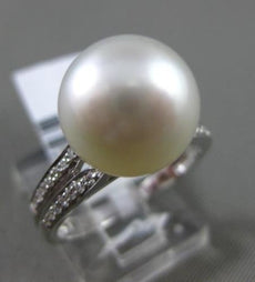 ESTATE DIAMOND 14KT WHITE GOLD SOUTH SEA PEARL SOLITAIRE CLASSIC SPLIT BAND RING
