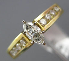ESTATE 1.09CT ROUND & MARQUISE DIAMOND 14KT YELLOW GOLD FILIGREE ENGAGEMENT RING