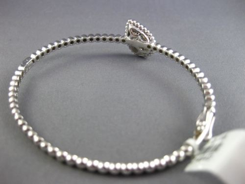 ESTATE WIDE .86CT DIAMOND 14KT WHITE GOLD 3D CLUSTER PEAR SHAPE BEADED BANGLE