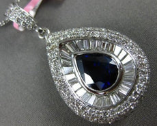 LARGE 5.88CT ROUND & BAGUETTE DIAMOND & SAPPHIRE 18KT WHITE GOLD 3D DROP PENDANT