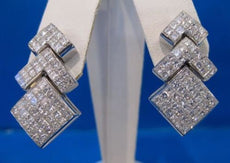 4CTW DIAMOND PRINCESS 14KT WHITE GOLD INVISIBLE EARRINGS 12CT LOOK F/G VVS #682