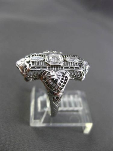 ANTIQUE LARGE .20CT OLD MINE DIAMOND 18KT WHITE GOLD HEART FILIGREE RING #20490