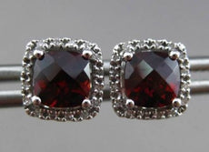 ESTATE 1.79CT DIAMOND & EXTRA FACET GARNET 14KT WHITE GOLD 3D SQUARE EARRINGS