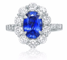 ESTATE 2.85CT DIAMOND & AAA SAPPHIRE 18K WHITE GOLD 3D OVAL HALO ENGAGEMENT RING