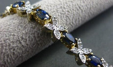 ANTIQUE 6.75CT AAA SAPPHIRE & DIAMOND 14KT 2TONE BUTTERFLY TENNIS BRACELET #1461