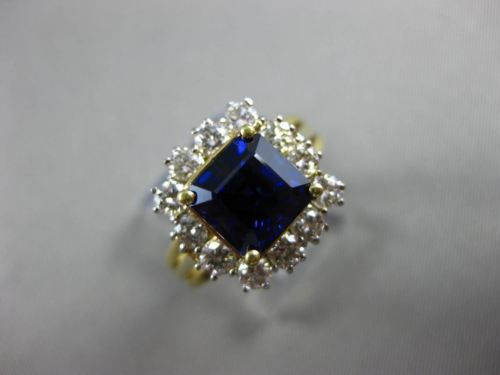 ESTATE WIDE 4.08CT DIAMOND & AAA SAPPHIRE 18K 2 TONE GOLD ENGAGEMENT RING #20600