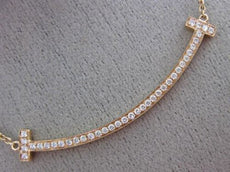 ESTATE .32CT DIAMOND 18KT ROSE GOLD 3D CLASSIC PAVE HAPPY BAR LOVE NECKLACE