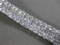 ESTATE WIDE & LONG 14.74CT DIAMOND 18KT WHITE GOLD 3 ROW CLASSIC TENNIS BRACELET