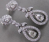 ANTIQUE 1.07CTW DIAMOND 14K WHITE GOLD PEAR HALO DROP HANGING EARRINGS F/G #2379