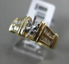 ESTATE WIDE .35CT DIAMOND 14K WHITE & YELLOW GOLD 3D SEMI MOUNT ENGAGEMENT RING