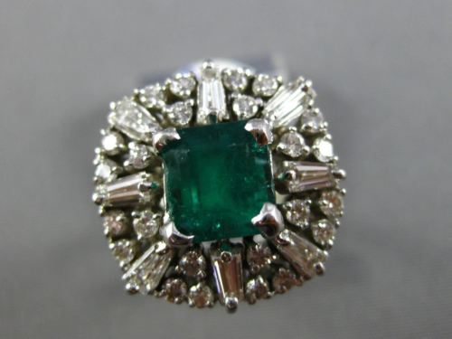 ANTIQUE LARGE 4.43CT DIAMOND & EMERALD 14KT WHTIE GOLD 3D SQUARE ENGAGEMENT RING
