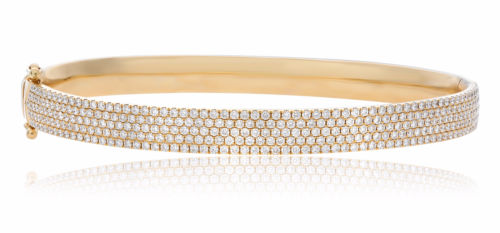 WIDE 2.10CT DIAMOND 14K YELLOW GOLD 3D MICRO PAVE SEMI ETERNITY BANGLE BRACELET