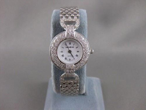 "NEW 1.80CTW DIAMOND 14K WHITE GOLD ROUND GENEVE WATCH SEALED 7.25"" F/G VVS #2304"