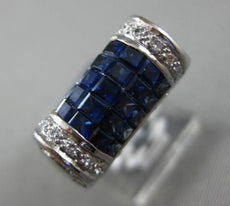 ESTATE WIDE 3.35CT ROUND DIAMOND & PRINCESS SAPPHIRE 18KT WHITE GOLD MENS RING