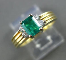 ESTATE .62CT DIAMOND & AAA EMERALD 14KT WHITE & YELLOW GOLD ENGAGEMENT RING 3098
