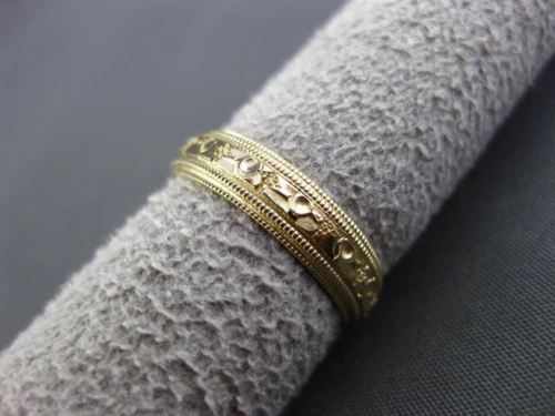 ANTIQUE 14KT YELLOW GOLD HAND EDGE FILIGREE WEDDING ANNIVERSARY RING BAND #24529
