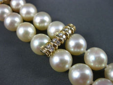 ANTIQUE LARGE .72CT DIAMOND 14KT YELLOW GOLD AAA PEARL 2 STRAND BRACELET #22606