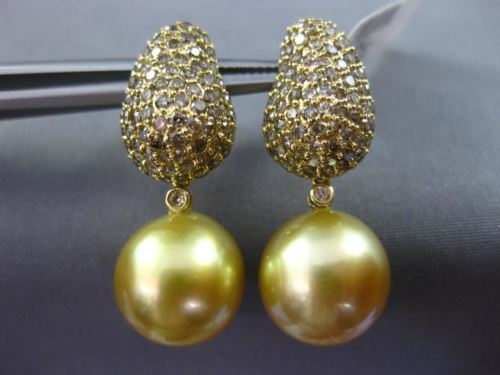 LARGE 2.70CT CHAMPAGNE DIAMOND & GOLDEN SOUTH SEA PEARL 18K YELLOW GOLD EARRINGS