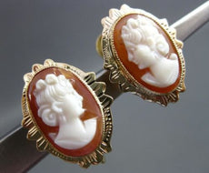 ANTIQUE 14KT YELLOW GOLD ITALIAN HANDCRAFTED OVAL LADY CAMEO EARRINGS #18307