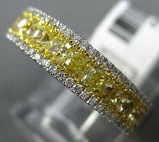 ESTATE 1.55CT WHITE & YELLOW FANCY DIAMOND 18KT WHITE GOLD 3D ANNIVERSARY RING