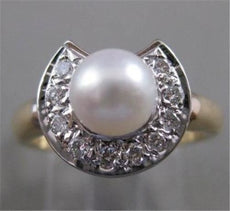 ESTATE DIAMOND 6MM SOUTH SEA PEARL 14K 2 TONE GOLD HALF MOON COCKTAIL RING 21072
