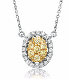 ESTATE .58CT WHITE & FANCY YELLOW DIAMOND 14K 2 TONE GOLD OVAL CLUSTER NECKLACE