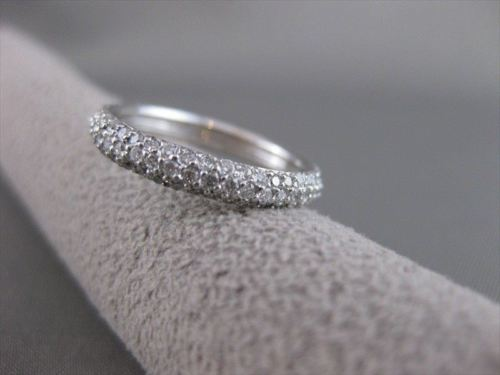 ESTATE 1.10CT DIAMOND 14KT WHITE GOLD 3D ETERNITY WEDDING ANNIVERSARY RING 20825