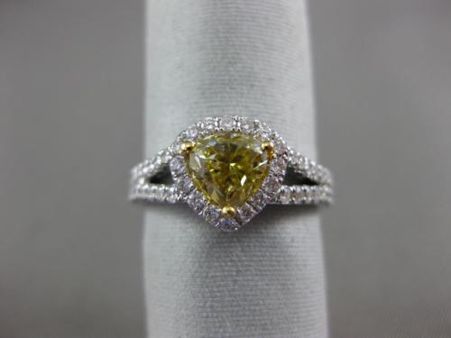GIA 1.60CT WHITE & FANCY YELLOW DIAMOND 18KT 2 TONE GOLD 3D HALO ENGAGEMENT RING