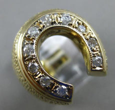 ANTIQUE LARGE .35CT OLD MINE DIAMOND 14KT YELLOW GOLD HORSE SHOE LUCKY MENS RING