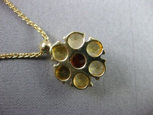 ANTIQUE 1.58CT AAA GARNET & YELLOW TOPAZ 14KT YELLOW GOLD FLOWER PENDANT #22160