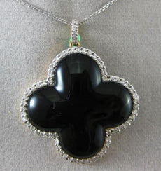 ESTATE LARGE .90CT DIAMOND & ONYX 18K 2 TONE GOLD 3D CLOVER FLOATING PENDANT