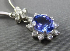 ESTATE 2.6CT DIAMOND & TANZANITE 14K WHITE GOLD FLOWER BY THE YARD OVAL NECKLACE