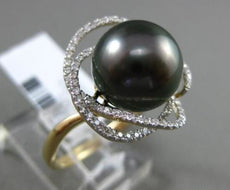 ESTATE EXTRA LARGE .36CT DIAMOND 14K 2 TONE GOLD TAHITIAN PEARL OPEN FLOWER RING