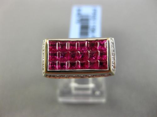 2.22CT DIAMOND & AAA PINK RUBY 18KT WHITE GOLD 3D RECTANGULAR INVISIBLE FUN RING
