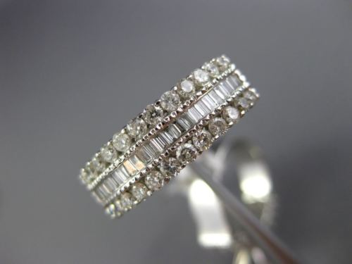 LARGE 1.61CT ROUND & BAGUETTE DIAMOND 14K WHITE GOLD SEMI MOUNT WEDDING RING SET