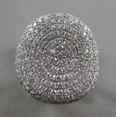 ESTATE MASSIVE 1.89CT DIAMOND 18KT WHITE GOLD 3D PAVE CIRCULAR COCKTAIL RING VVS